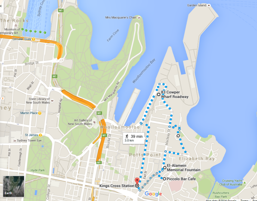 Kings Cross Garden Island and Potts Point Walk Map