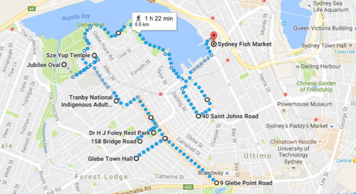 Glebe Walk Map