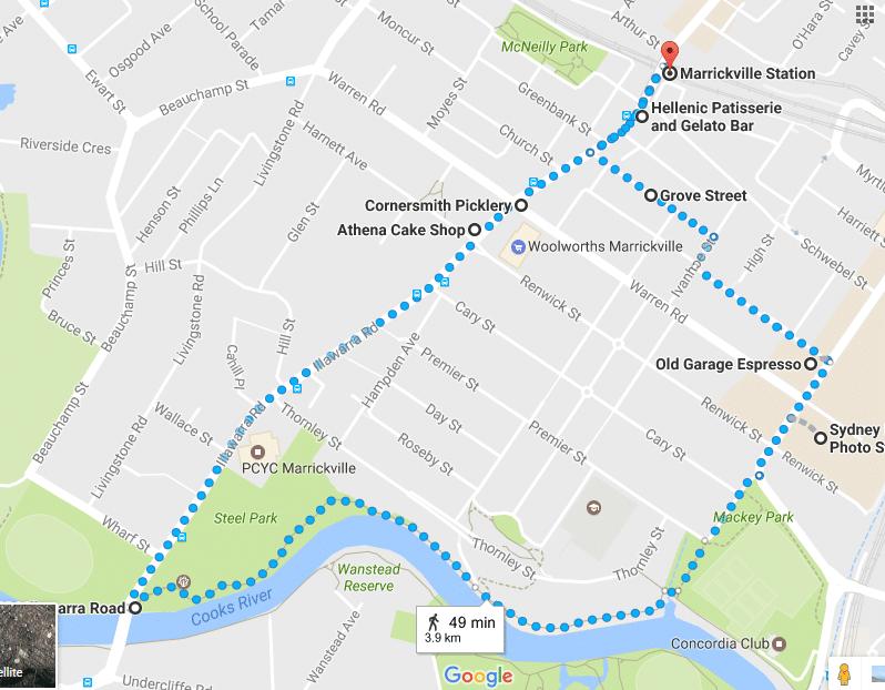 Cooks River loop Walk Map
