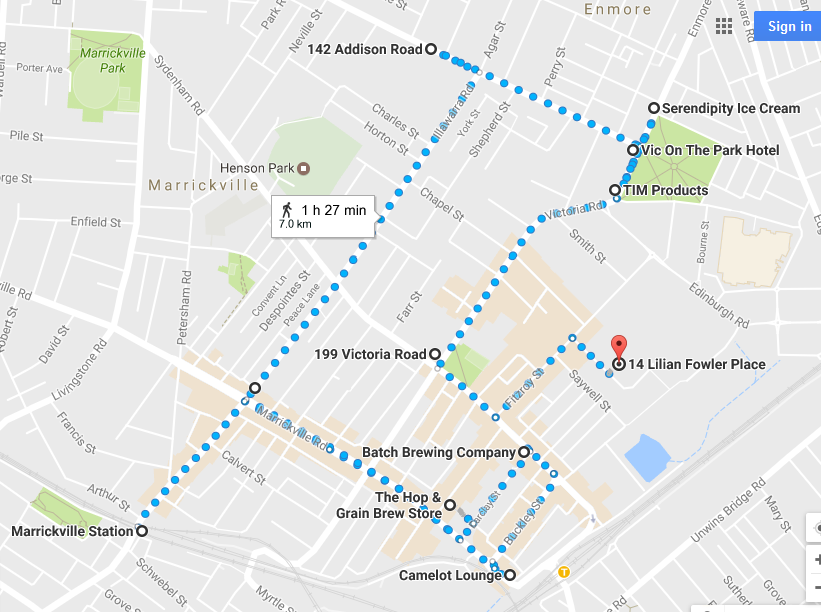 Marrickville Walk Map
