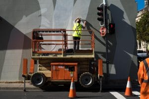 This one in Paddington, Sydney required traffic control and a scissor lift. A lovely addition to the street scape.