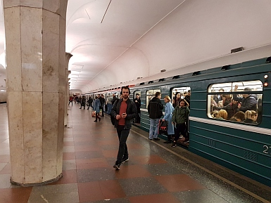 Trains come regularly on the Moscow Metro