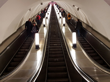 Steep escalators on Moscow Metro
