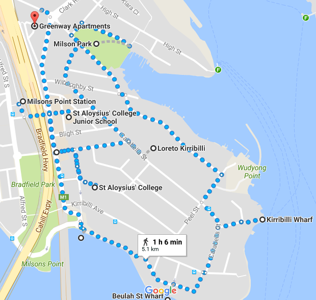 Kirribilli Walk Map
