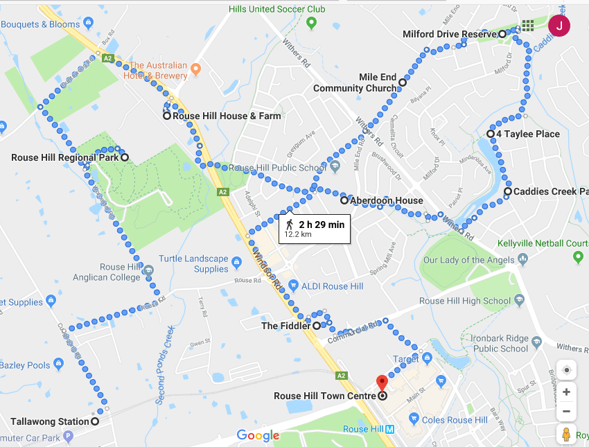 Rouse Hill Walk Map