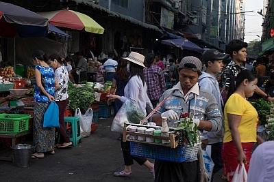 Selling Betel Nut Chew in Myanmar