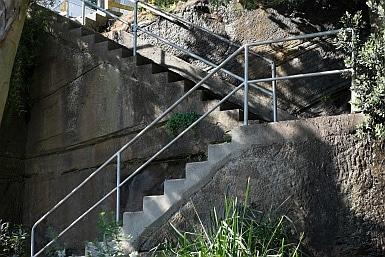 Rock cut stairway from Hugh Bamford Reserve