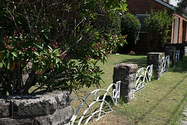 Stone and Metal Fence
