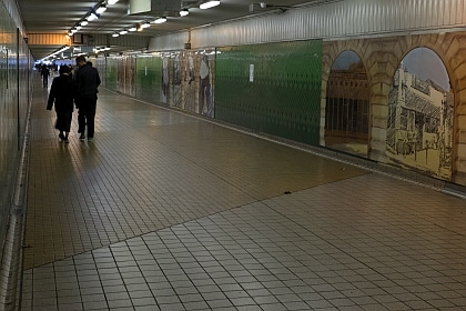 Decorated with murals depicting Rail history and scenes in Devonshire Street Tunnel