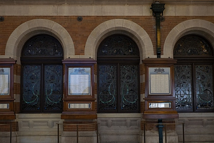 Honour Boards outside the booking office now an eatery