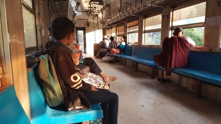 Blue Benches on the Yangon Circle Line Train.