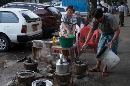 Hot street food Yangon