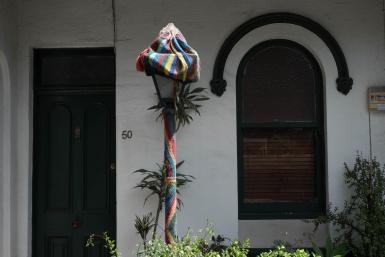 Yarn bombing in St Peters