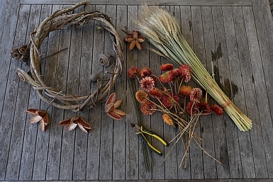 Makings of a flower wreath