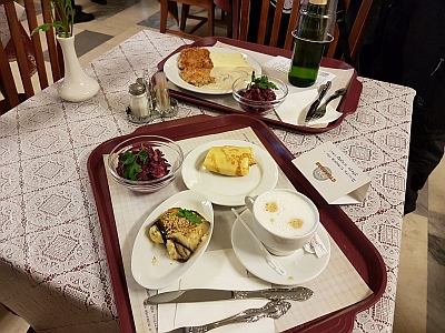 Blini, Beetroot Salad and eggplant rolls in a Soviet Diner, Moscow