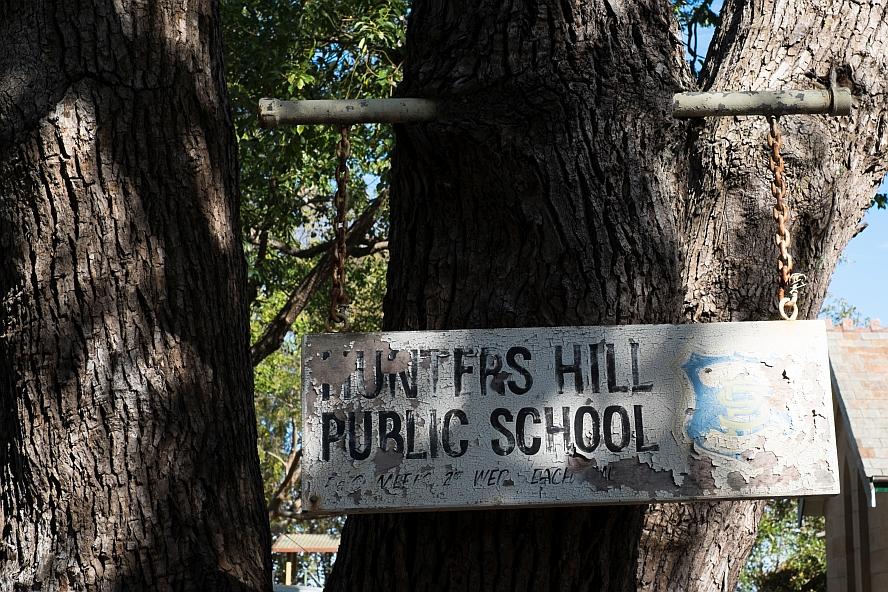 Old sign Hunter's Hill Public School