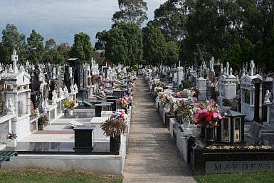 Colourful graves at Rookwood Cemetery