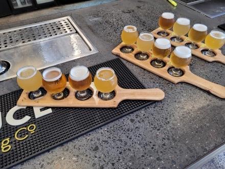 Beer Flight in Sauce Brewery
