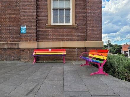 Seating painted in rainbow colours