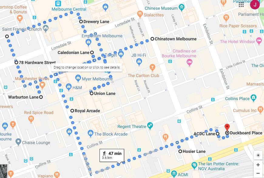 Street Art and Laneways of Melbourne Walking Map