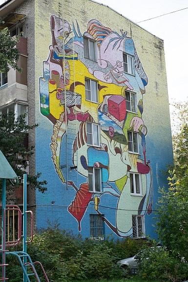 One of twelve artworks in a housing estate in Moscow. Babushkinskaya