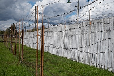 Barbed wire fences at a Labour Camp in Russia