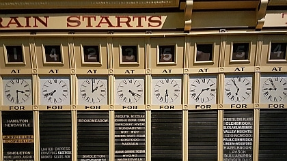 Train Destination Board from Central Station now in Powerhouse Museum