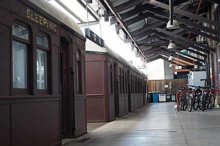 Platform 0 Central Station with replica sound proofed carriages for the Railway Square YHA