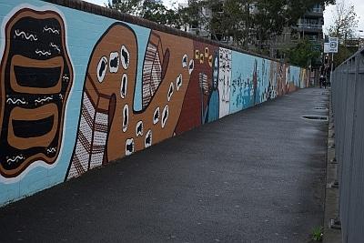 Restored 40 000 years mural Redfern Station