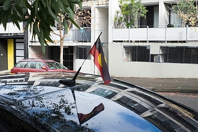 Aboriginal Flag on Car