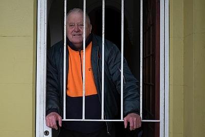 Man in orange fleece