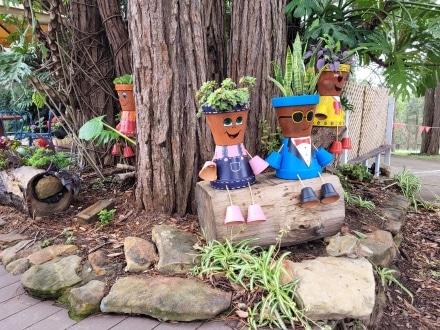 Cute figures in the garden at Bilpin Mountain Bells Cafe