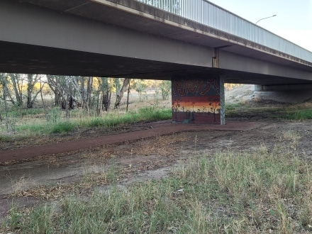 Aboriginal Artwork on a walk along the Murrumbidgee in Hay when doing a road trip from Sydney to Adelaide.
