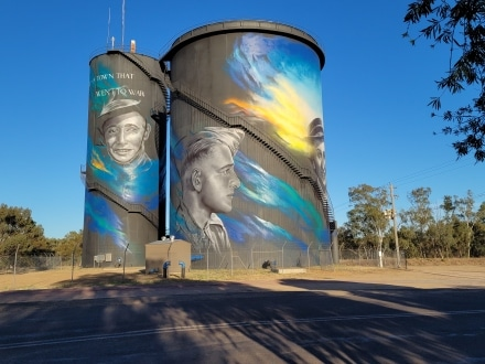 A town that went to war. Hay water tower artwork by Matt Adnate