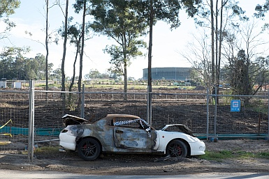 Burnt out car in Rouse Hill