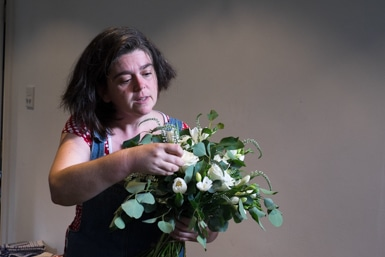 Preparing a wedding bouquet