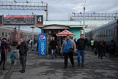 Smoke break on the Trans-Mongolian