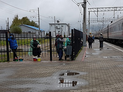 Babushkas relegated to selling from behind a fence on the Trans-Siberian