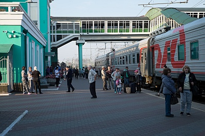 Passengers on the Trans Mongolian Railway