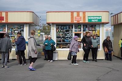 Babushkas selling food on the station on Trans-Siberian