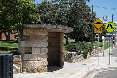 Sandstone bus shelter in Vaucluse