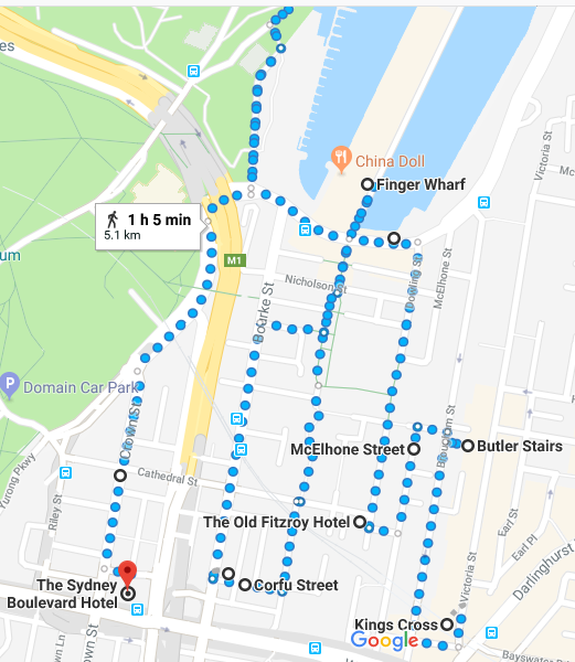 Woolloomooloo walk map