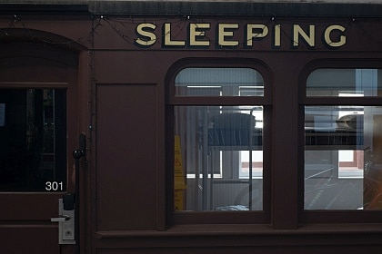 Sleep in a railway carriage at the Railway Square YHA