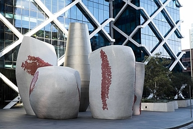Coffee Cups outside Macquarie Bank Barangaroo